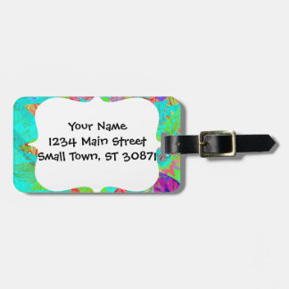 Vibrant Teal Blue Abstract Girly Address Labels Luggage Tag