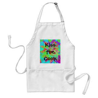 Vibrant Teal Blue Abstract Girly Collage Print Adult Apron