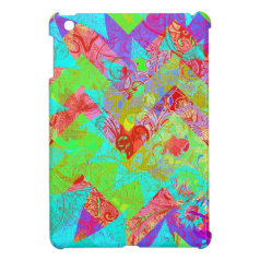 Vibrant Teal Blue Abstract Girly Collage Print Case For The iPad Mini