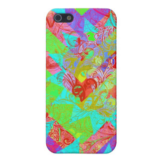 Vibrant Teal Blue Abstract Girly Collage Print iPhone 5 Case