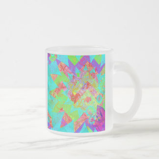 Vibrant Teal Blue Abstract Girly Collage Print 10 Oz Frosted Glass Coffee Mug