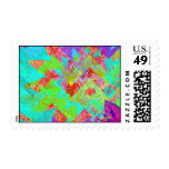 Vibrant Teal Blue Abstract Girly Collage Print Postage Stamps