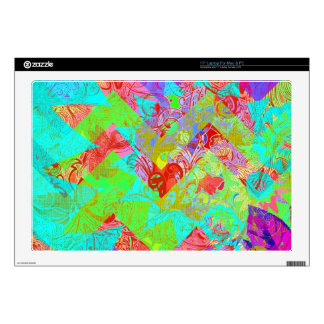 Vibrant Teal Blue Abstract Girly Collage Print Laptop Decal