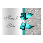 Vibrant Teal Bow Silver Diamonds Thank You Card