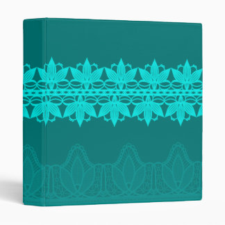 Vibrant Teal Lace Flowers Against Dark Teal Binder