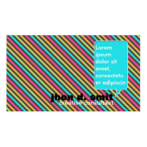 vibrant, trendy, cool, original, designer, creative, consultant, modern, young, stripes, cmyk, vivid, colors, colorful, Business Card with custom graphic design
