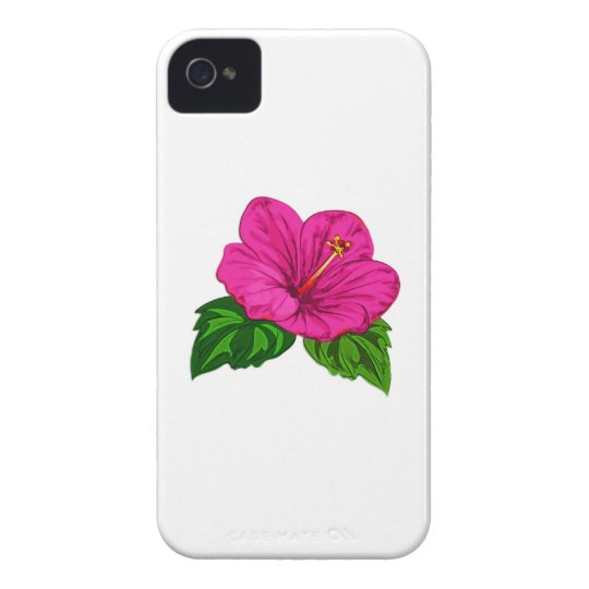 Vibrant Tropical Pink Hibiscus iPhone 4 Case-Mate Case