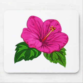 Vibrant Tropical Pink Hibiscus Mouse Pad