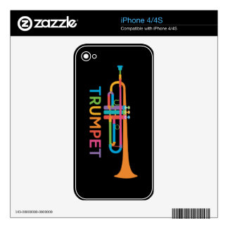 Vibrant Trumpet in Rainbow Colors iPhone 4S Decal
