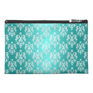 Vibrant Turquoise and White Damask Vintage Pattern Travel Accessory Bag