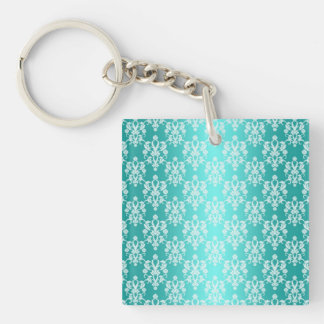 Vibrant Turquoise and White Damask Vintage Pattern Keychain
