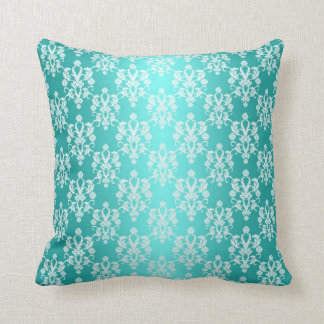 Vibrant Turquoise and White Damask Vintage Pattern Throw Pillow