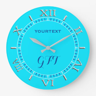 Vibrant Turquoise Sky Blue Color Personalize This Large Clock
