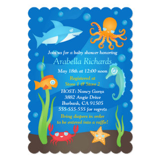 Vibrant Under The Sea Baby Shower Invitations
