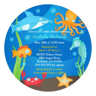 """Vibrant Under the Sea Baby Shower Invitations 5.25"""" Square Invitation Card"""