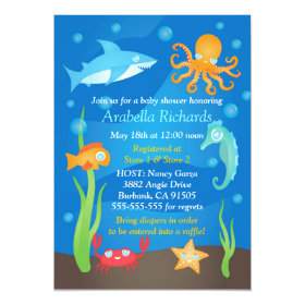 Vibrant Under the Sea Baby Shower Invitations 5