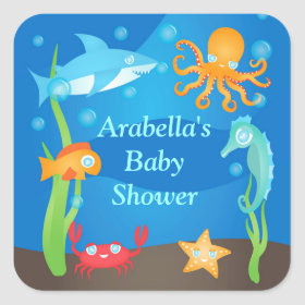 Vibrant Under the Sea Baby Shower Stickers