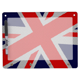 Vibrant Union Jack on Carbon Fiber Style Print Dry Erase Board With Keychain Holder
