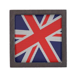 Vibrant Union Jack on Carbon Fiber Style Print Gift Box