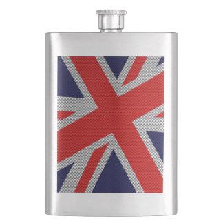 Vibrant Union Jack on Carbon Fiber Style Print Hip Flask