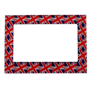 Vibrant Union Jack on Carbon Fiber Style Print Magnetic Picture Frame
