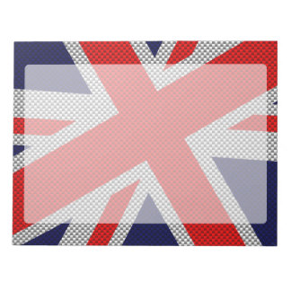 Vibrant Union Jack on Carbon Fiber Style Print Notepad