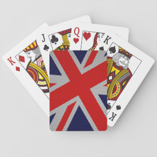 Vibrant Union Jack on Carbon Fiber Style Print Poker Cards