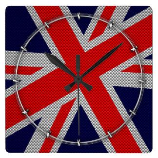 Vibrant Union Jack on Carbon Fiber Style Print Square Wall Clock