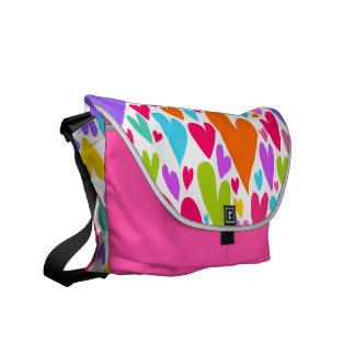 Vibrant Valentine's hearts Messenger Bag