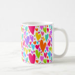 Vibrant Valentine's hearts mug