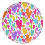 Vibrant Valentine's hearts Plate