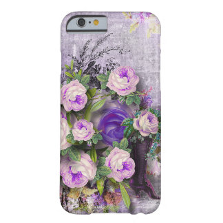 Vibrant Vintage Purple Rose green lavender blue 3D Barely There iPhone 6 Case