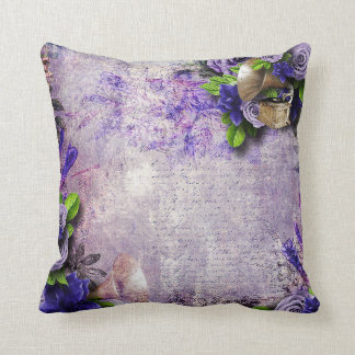 Vibrant Vintage Purple Roses green lavender 3D Throw Pillow