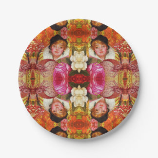 Vibrant Vintage Woman Abstract Paper Plate