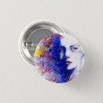 Vibrant Watercolor Abstract Face Button