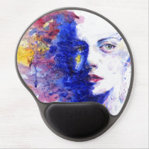 Vibrant Watercolor Abstract Face Gel Mouse Pad