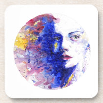 Vibrant Watercolor Abstract Girls Face Beverage Coaster