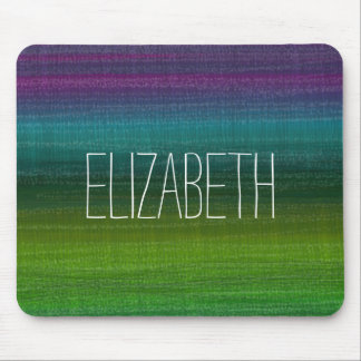 Vibrant Watercolor Abstract Stripes Custom Name Mouse Pad