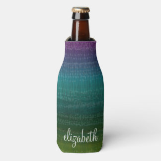 Vibrant Watercolor Abstract Stripes Custom Name Bottle Cooler