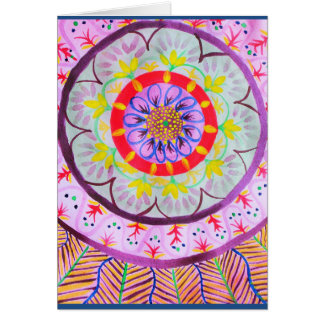 Vibrant watercolor mandala design with ethnic vibe greeting card