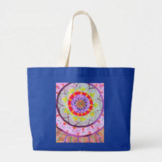 Vibrant watercolor mandala design with ethnic vibe large tote bag