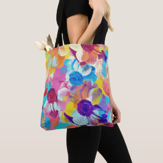 Vibrant Watercolor Painted Anemone Flower Tote Bag