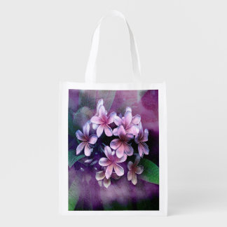 Vibrant Watercolor - Pulmaria Bouquet3 Reusable Grocery Bags
