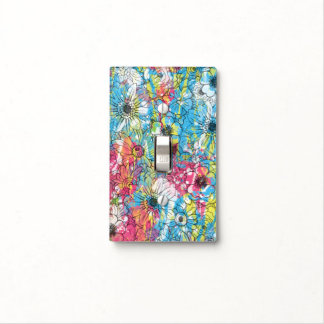 vibrant watercolours splatters floral sketch switch plate covers