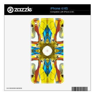 Vibrant Yellow Blue Cross Shaped Pattern iPhone 4 Skin