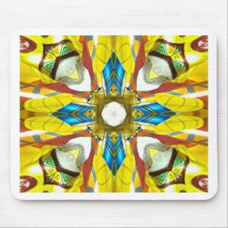 Vibrant Yellow Blue Cross Shaped Pattern Mouse Pad