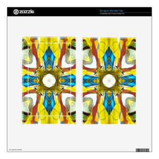 Vibrant Yellow Blue Cross Shaped Pattern Skin For Kindle Fire