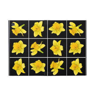 Vibrant Yellow Daffodil Flowers on Black Cases For iPad Mini