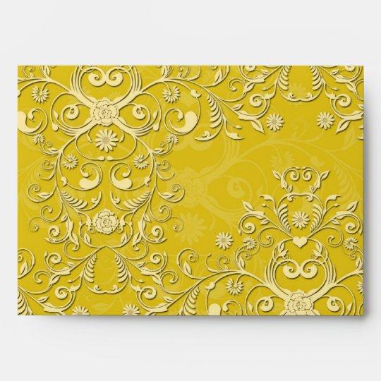 Vibrant Yellow Floral Damask Pattern Envelope