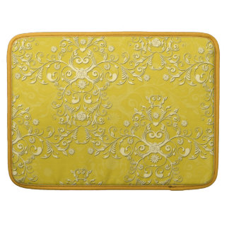 Vibrant Yellow Floral Damask Pattern Sleeves For MacBooks